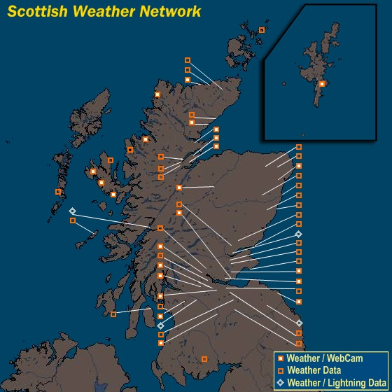 Mesomap of Scottish Weather Network Stations